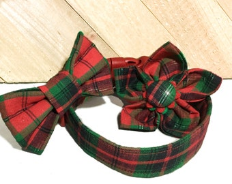 Red Plaid Christmas Dog or Cat  Bow Tie Or Flower Collar With Red Standard Buckle /Martingale Upgrade /Leash Upgrade