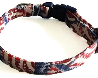 Patriotic Flag Collar with Stars, Stripes, and Eagles for Dogs and Cats