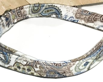 Blue & Brown Paisley Floral Buckled Collar for Girl Dog or Cat//XXS-XXL// Buckled// Martingale Option //Metal Buckle Upgrade// Leash Upgrade
