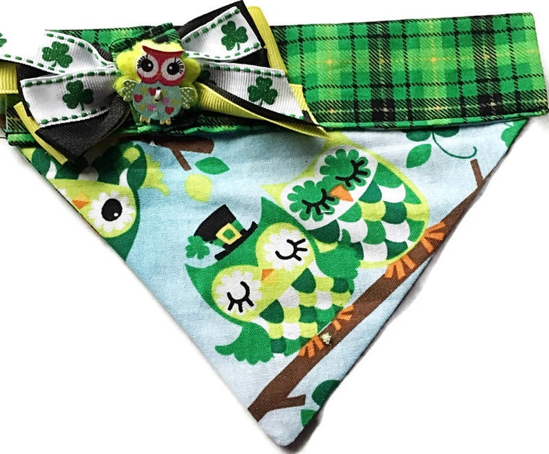 St. Patrick's Day Plaid Dog and Cat Over The Collar image 0