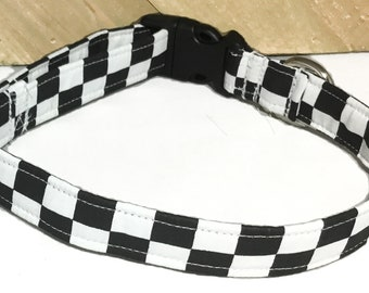 Black and White Checkered Collar for Dogs and Cats in Buckled or Martingale Style/Gingham Leash Upgrade/Metal Buckle Upgrade