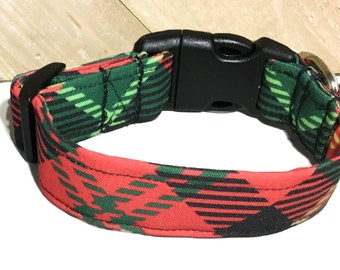 Red & Green Christmas Plaid Argyle Dog or Cat Collar /Custom Made Collars  /Martingale Upgrade/ Leash Upgrade