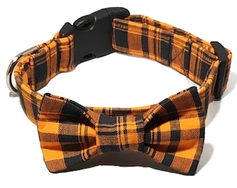 Orange and Black Plaid Halloween Bow Tie Collar for Male Dogs and Cats//Halloween Buckled or Martingale Collar//Matching Leash Option