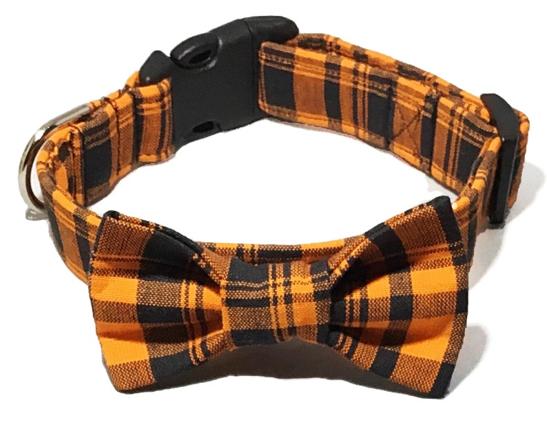 Orange and Black Plaid Halloween Bow Tie Collar for Male Dogs image 0