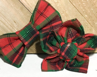 Red & Green Plaid Christmas Flower or Bow Tie for Dog or Cat Collar / Holiday Collar Accessory