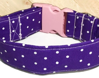 Purple Polka Dot Extra Wide Collar With Pink Buckle For Girl Dogs/ Metal Buckle Upgrade /Polka Dot Leash Upgrade