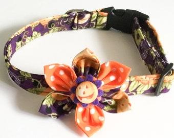Purple and Orange Halloween Pumpkin Collar with Matching Flower for Girl Dogs and Cats/ Matching 5 Ft Leash Upgrade/Metal Buckle Upgrade