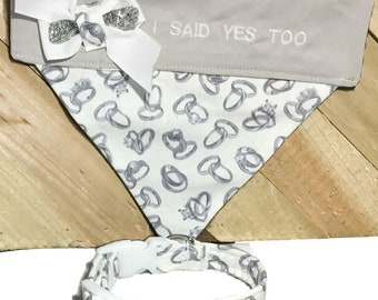 Engagement Collar and Bandana Gift Set for  Dogs and Cats