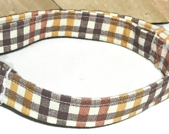 Brown & Orange Fall Plaid Dog and Cat Collar/Checkered Collars //Buckled or Martingale /Metal Buckle Upgrade /Leash Upgrade //