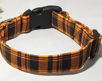 Black and Orange Halloween Plaid Dog or Cat Collar For Fall Season//Matching Halloween Plaid Leash Option// Martingale or Buckled//XXS-XL