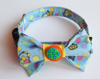 Easter Basket Bow Tie Collar for Male Dogs and Cats with Easter Egg Decoration