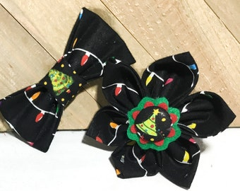 Black Christmas Tree  Lights Flower or Bow Tie for Dog or Cat Collar / Christmas CollarAccessory