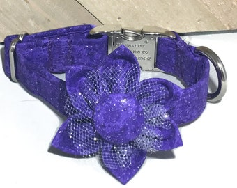 Sparkling Purple Wedding or Special Events Collar with Matching Flower and Black Buckle/ Metal Buckle Upgrade