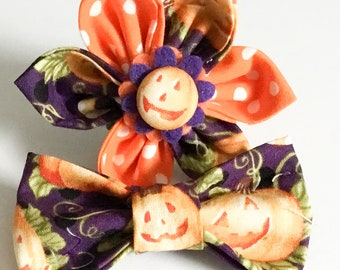 Purple and Orange Attachable Halloween Pumpkin Flower or Bow Tie for Dog or Cat Collar / XXS-XL Flower or Bow tie