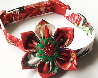 Red and Green Poinsetta Christmas Collar with Matching Flower for Girl Dogs and Cats