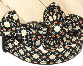 Black White &  Orange Halloween Geometric Diamond Collar with Matching Flower or Bow Tie for Pet's/ Buckled or Martingale/ Leash Upgrade