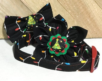 Black Christmas Lights Collar with Matching Flower or Bow Tie for Pet's/ Buckled or Martingale/ Leash Upgrade