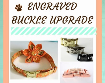Engraved Buckle Hardware Upgrade for Dogs-Silver, Black, Gold and Rose Gold