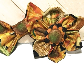Metallic Sunflower & Leaves  Flower or Bow Tie for Dog or Cat Collar / Seasonal Collar Accessory/ XXS-XL Flower or Bow tie
