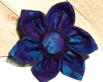 Blue & Purple Glitter Abstract Flower For Any Dog or Cat Collar / Attachable Pet Accessory in XXS-XL Sizes