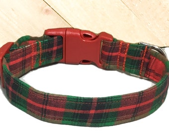 Red & Metallic Green Plaid Christmas Dog and Cat Collar in Buckled or Martingale Style/Winter Plaid Collars/  5 Ft leah Upgrade /XXS-XL