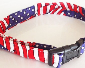 Patriotic Flag Collar In Red White & Blue  For Dogs and Cats/ 4th of July Collars/ Memorial Day Collars/ Patriotic Leash Upgrade