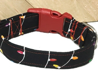Christmas Lights Collar Dog or Cat Collar With Black Background/ Winter Collars/ Martingale Upgrade / Leash Upgrade