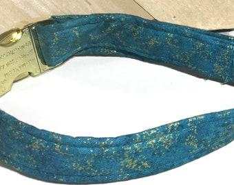 Teal & Gold Metallic Dog or Cat Wedding Collar With Standard Black Buckle or Metal Buckle Upgrade/ Teal Leash Upgrade/Martingale Upgrade