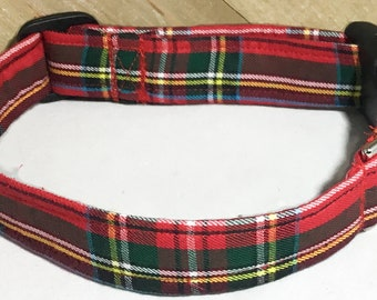 Red Plaid Christmas Collar for Dogs and Cats / Buckled or Martingale Style/ Leash Upgrade /Metal Buckle Upgrade/ XXS-XXL