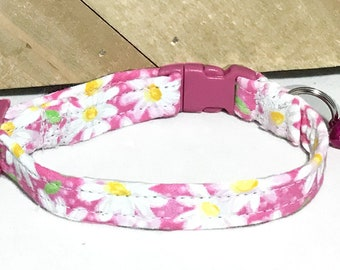 Pink Daisy Breakaway Cat Collar with Option of Matching Flower