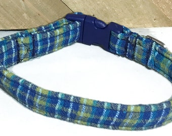 Blue & Green Plaid Dog or Cat  Collar with Blue Buckle / XXS-XXL /Metal Buckle Option//Martingale Option/Leash Upgrade