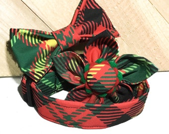 Dog or Cat Christmas Argyle Plaid Red & Green Collar With Flower or Bow/ Martingale Upgrade /  Leash Upgrade