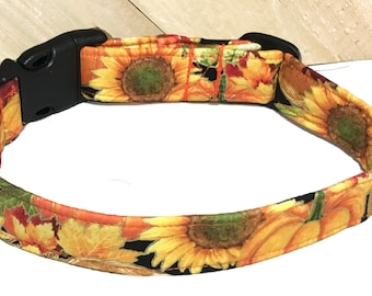 Gold Metallic Sunflower, Leaves & Pumpkins Fall Dog or Cat Collar With Black Buckle  / Martingale Upgrade / Leash Upgrade
