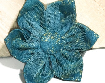 Teal & Gold Flower for Girl Dog and Cat Collar / Teal Wedding Flower /Special Events Flower /Attachable Pet Accessory