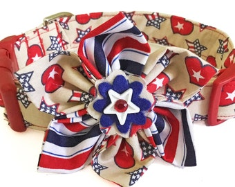 Patriotic Girl Dog & Cat Collar and Flower with Stars and Hearts