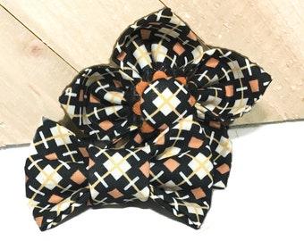 Black, White & Orange Halloween Diamond Geometric  Flower or Bow Tie for Dog or Cat Collar / Seasonal Fall Collar Accessory