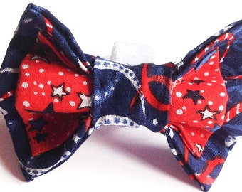 Patriotic Two Layer Collar Bow Tie for Dog or Cat