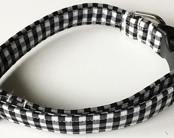 Black and White Gingham Collar for Dogs and Cats