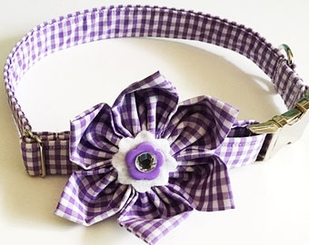 Purple & White  Gingham Collar with Matching Flower for Girl Dogs and Cats with Leash and Metal Buckle Option//Buckled or Martingale Style