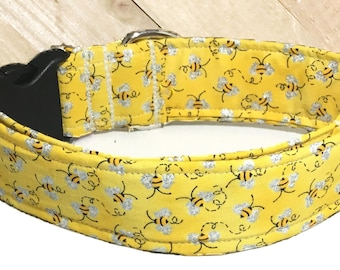 Yellow Bumble Bee Adjustable Dog Collar in  1.5 or 2 Inch Wide/ M/L/XL or XXL/ Black Buckle/Matching Leash Upgrade