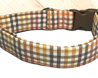 """Brown and Orange  Fall 1.5""""W or 2""""W Plaid Gingham Dog Collar  / M/L/XL or XXL Extra Wide Collar/Matching Leash Option"""