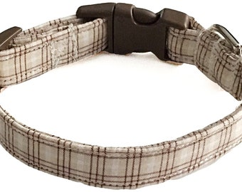 Brown & Beige Plaid Casual Collar for Dogs and Cats //Buckled or Martingale // Metal Buckle Upgrade // Leash Upgrade