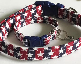 Patriotic 4th of July Stars Dog or Cat Collar with Matching Friendship Charm Bracelet