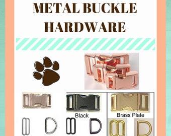 "Metal Dog Collar Hardware Upgrade //Silver Nickle//Brass Buckle//Rose Gold //Black//3/8""W/5/8""W/3/4""W/1""W"