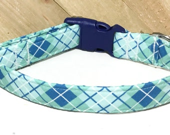 Blue & Green Argyle Plaid Dog or Cat  Collar with Navy Blue Buckle // XXS-XXL // Metal Buckle Option//Martingale Option//Leash Upgrade