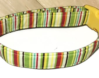 Green and Yellow Striped Dog/Cat Collar/ Metal Buckle Upgrade/ Leash Upgrade