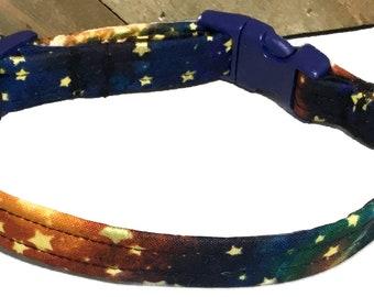 Blue and Orange Metallic  Gold  Stars Dog & Cat Collar / Buckled or Martingale /  Leash Upgrade / Metal Buckle Upgrade