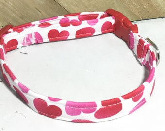Red, Pink & White Heart Valentine's Day Collar for Dog or Cat in Buckled or Martingale Style / Metal Buckle Upgrade / Leash Upgrade