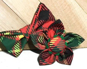 Dog or Cat Red & Green Christmas Flower or Bow Tie for Collar / Christmas Plaid Attachable Collar Accessory / XXS- XL