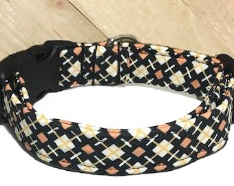 Black White & Orange Halloween  Fall Dog or Cat Collar With  Diamond Geometric Theme  / Martingale Upgrade / Leash Upgrade
